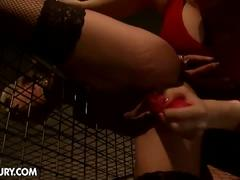 No mercy lesbian mistress torturing horny slave