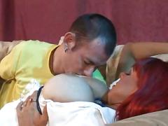 Redhaired milf with balloon-boobs pounded hard