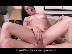 Messy facial! naive california girl hits casting couch for work