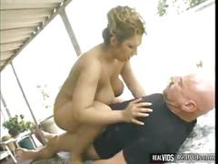 Chubby girl rides on cock at outdoor