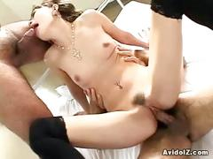 Lovely japanese babe fucked in hot threesome
