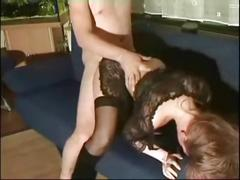Horny elderly fucking his step-daughter