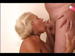 Blonde granny gangbang