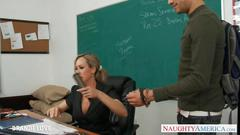 Blonde teacher brandi love riding cock in classroom