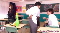 Petite japanese schoolgirl pov wanks cock