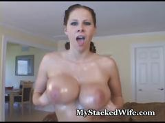 tits, ass, oil, masterbate, fingering, pussy, horny, wife, busty, brunette