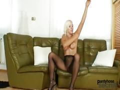 blonde, masturbation, pornstar, euro, panythosesecret.com, kinky, pantyhose, nylons, dildo, solo, softcore, czech