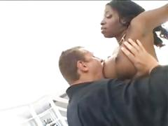 Stacked ebony vanessa stretches out her tight love holes with a stiff rod