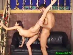 Flexible gymnast amateur babe spreading stretching