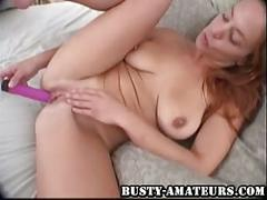 Busty gabriella toying her shaved pussy with pink dildo