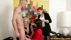 blowjob, femdom, group, blonde, brunette, cfnm, cougar, granny, jerking, mature, milf, office