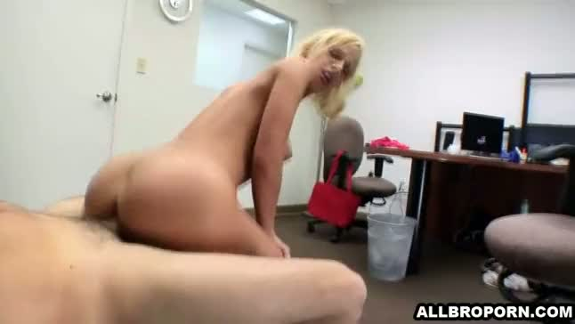 Blonde college girl fucks teacher in his office