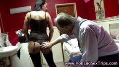 Dutch hooker fingers herself and gets a pussy lick
