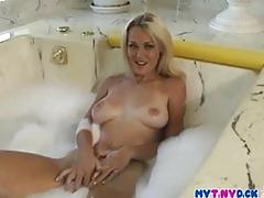 Sexy babe fingering her tight pussy