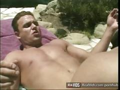 Horny slut gets deep poked near pool