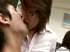 Horny japanese teacher gets fucked and abused by her students in classroom
