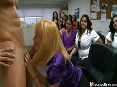 Horny office girls suck & stroke big dick at work party