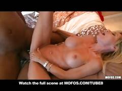 Mature blonde milf mom with bigtits cums in bed