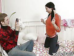 Teen couple hardcore anal creampie