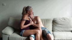 Czech amateurs - horny blonde with amazing tits in...