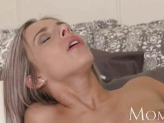 Mom blonde milf loves warm cum on her pussy
