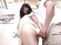 Asian getting dirty in a public place