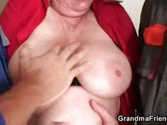 Nasty granny takes two cocks