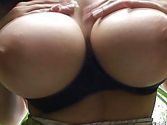 Busty ellen stripping and bottle fucking