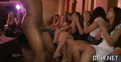 Sucking strippers shafts for cumshot at the party