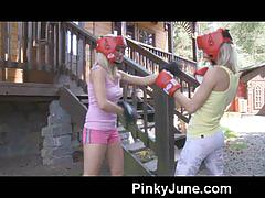 Teen boxers fingering each other and enjoying strap-on