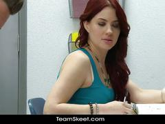 Sexy redhead schoolgirl teen blows classmate
