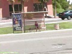 Kylie public bus stop nude flash