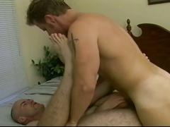 Awesome threeway pounding as horny daddies fuck each other