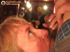 Amateur big tits blowbang in swinger club