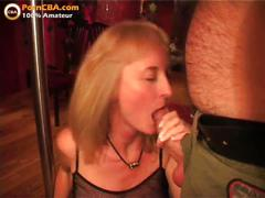 Amateur big tits blowbang in swinger club