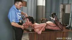 milf, ass, big tits, blowjob, brunette, hardcore, phoenix marie, police, heels, jail