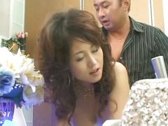 Japanese milf on bathroom creampie