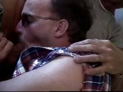 Oral loving daddy bears nasty cock fucking session on couch