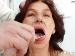 Hairy pussy grandma visits pervy woman doctor