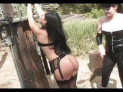 fetish, tube8.com, bdsm, bondage, whipping, piercing, bald pussy, garter, nylons, natural tits, tight ass, brunette, outside, bound