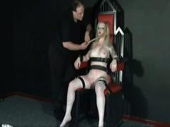 Amateur slave girl angel strapped to a throne and tormented mercilessly