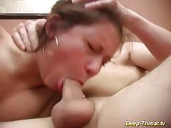 Her first extreme deepthroat lession