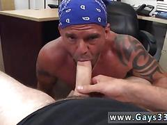 Tattooed biker buff sucks a pawn mans cock in pov