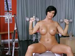 Brunette gym workout