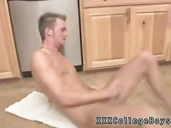 Skinny twink serves his cock for dinner in the kitchen