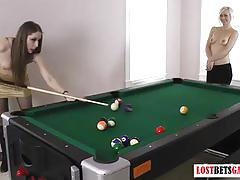 Gorgeous girls play strip billiards