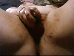 White bbw wife masturbates with two dildos