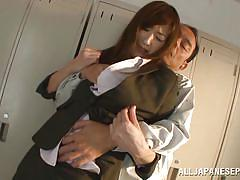 Japanese teacher has her clothes ripped off