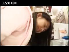Schoolgirl staff fucked in comic book shop when in...