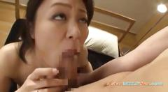 Milf with milking tits giving blowjob rubbing young...